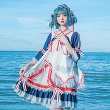 Royal fairy Chinese sailor army style soft sister Princess LOLITA dress female ruffles stitching original cute gown dress F1418