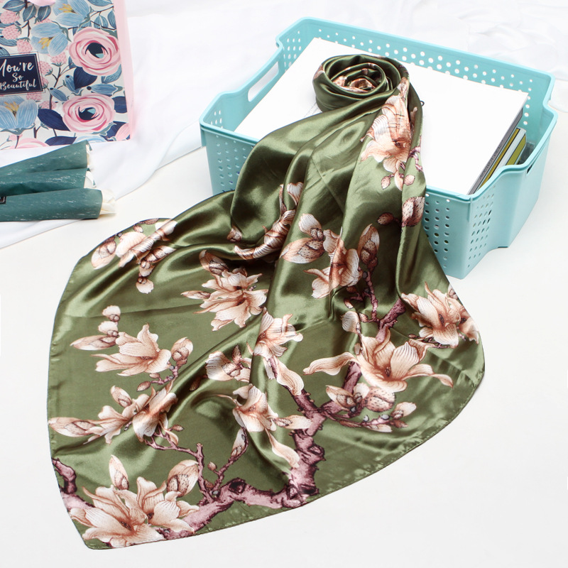 Floral Print Kerhicef Silk Satin Hijab Scarf For Women Hair Scarfs Female 90*90cm Square Shawls And Wraps Neck Scarves For Lady
