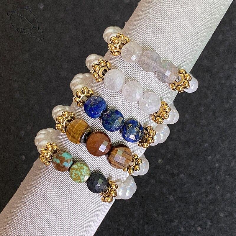 Alta-moda multi cor natural pedra anéis de casamento para as mulheres todos feitos à mão corda elástica corrente pérolas moonstone frisado anéis