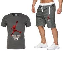 2021 verão populares fatos de treino nova camiseta masculina + calções esportivos conjunto jordan-23 alta qualidade hip-hop roupa esportiva