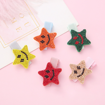 Baby Girl Star Hair Clips For Hair Clip Pins Colorful BB Hairpins Color Metal Barrettes For Baby Children Girls Baby Accessories 12 pcs korean style baby girl soft fur ball hair clip handmade barrettes head accessories new lovely gift for baby girls