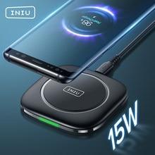 INIU 15W Qi kablosuz şarj cihazı LED hızlı şarj pedi iPhone 12 11 Pro Max Xs Xr X 8 artı Samsung S21 S20 S10 not 20 10 Xiaomi