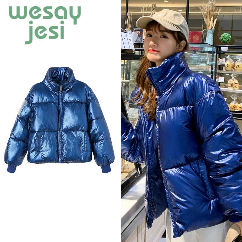 2019 Glossy Winter Down Cotton Padded Jacket For Women Thick Bright Blue Short Shiny Jacket Yellow Red Cotton   Parkas   coat women