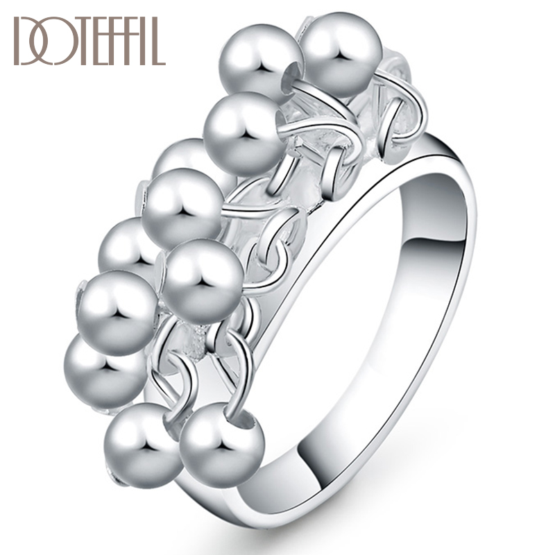 DOTEFFIL 925 Sterling Silver Smooth Grape Beads Ring For Women Fashion Wedding Engagement Party Gift Charm Jewelry
