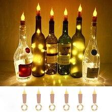 Свеча вино бутылка огни с пробкой 90 см светодиод шнур фонари батарейки питание гирлянда шнур фея ночь лампа свадьба украшение