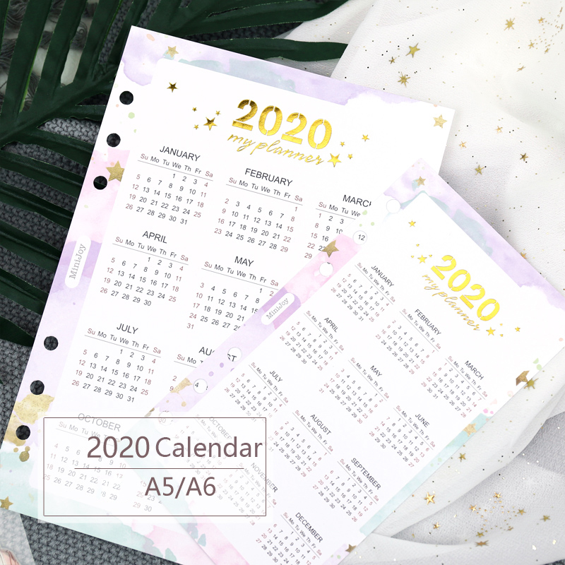 1 Pcs 2020 Year Calendar Divider Home Page Watercolor Refill For Spiral Planner A5A6 Diary Accessories School Stationery