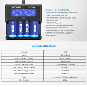Image 5 - Caricabatterie XTAR Batery VC8 VC4 VC4S Display caricabatterie USB per batterie AAA AA Li ion 10400 26650 20700 21700 18650 caricabatterie
