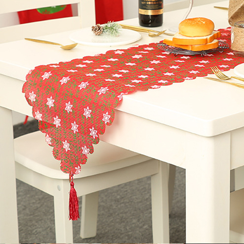 Home Christmas Party Dining Table Runner Linen Placemats Soft Fabric Tablecloth