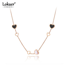 Lokaer Trendy tytanu stali 6 sztuk miłość serce urok wisiorek naszyjniki biżuteria akrylowe i powłoki ślubne naszyjnik dla kobiet N20086
