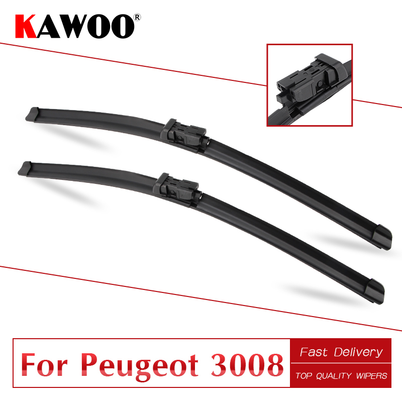 KAWOO For Peugeot 3008 Car Soft Rubber Wipers Blades 2008 2009 2010 2011 2012 2013 2014 2015 2016 2017 2018 Fit Push Button Arm image