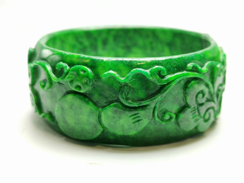 Natural Myanmar emerald green jade bangles hand carved flower jadeite bracelets jade bangles jade jewelry add certificate