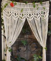 Macrame Curtain Bohemia Wall Art Handmade Cotton Wall Hanging Tapestry with Lace Fabrics Bohemian Hanging Decoration Best Gift