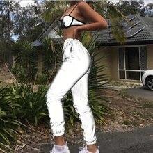All seasons womens hip hop reflective running night flash jacket girdle feet in the glare elastic slacks for women
