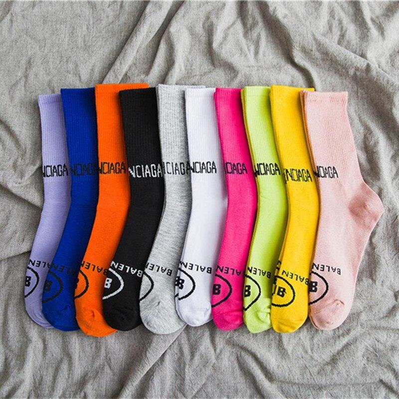 2020 New Women's Socks Korean Japanese Harajuku Tide Brand Tube Socks Ins Net Red Explosion Models Wild Letters Cotton Color Bre