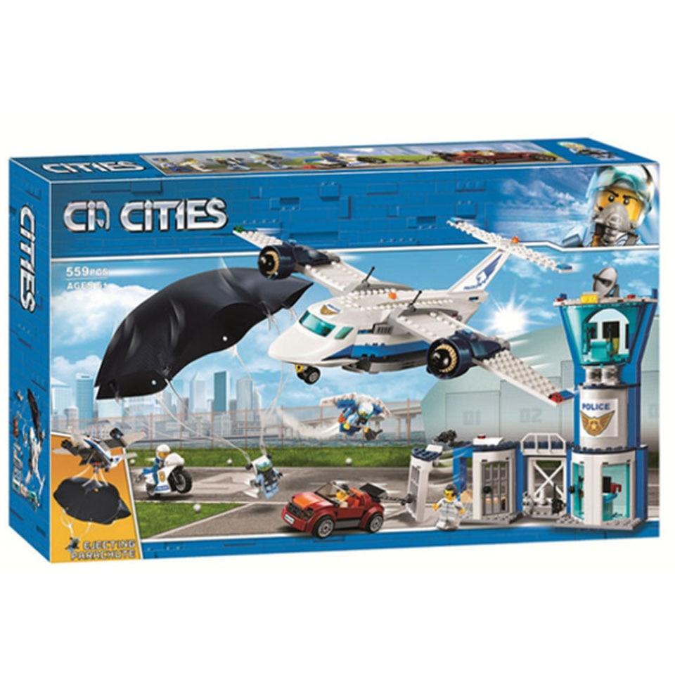 11210 559pcs City Arctic Sky Police Air Base Getaway Car Airplane Parachute Lepining Building Blocks Brick 60210 Toy