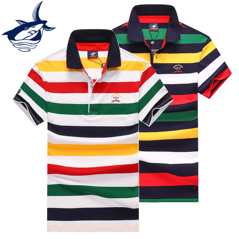 Tops Tees Smart Casual Striped Polo Shirt Men Brand Tace & Shark Polo Homme Summer Slim Fit Short Sleeve Cotton Polos