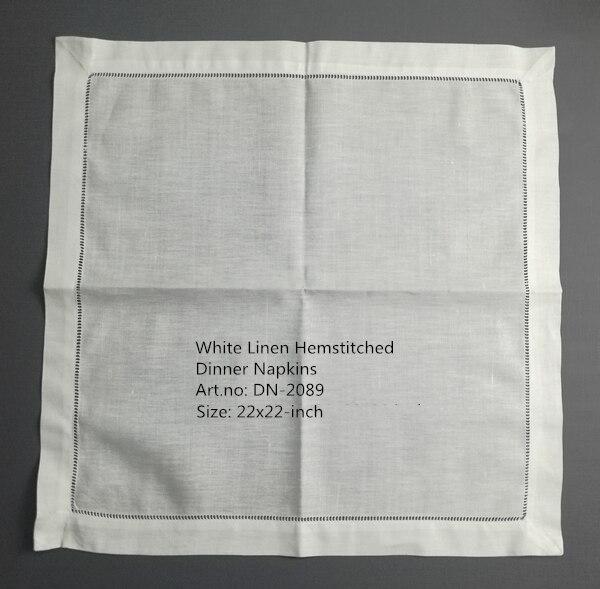 Sef Of 12 Fashion Dinner Napkins Perfec Wedding Napkins White Hemstitched Linen Table Napkins Tea Napkins 22X22-inch