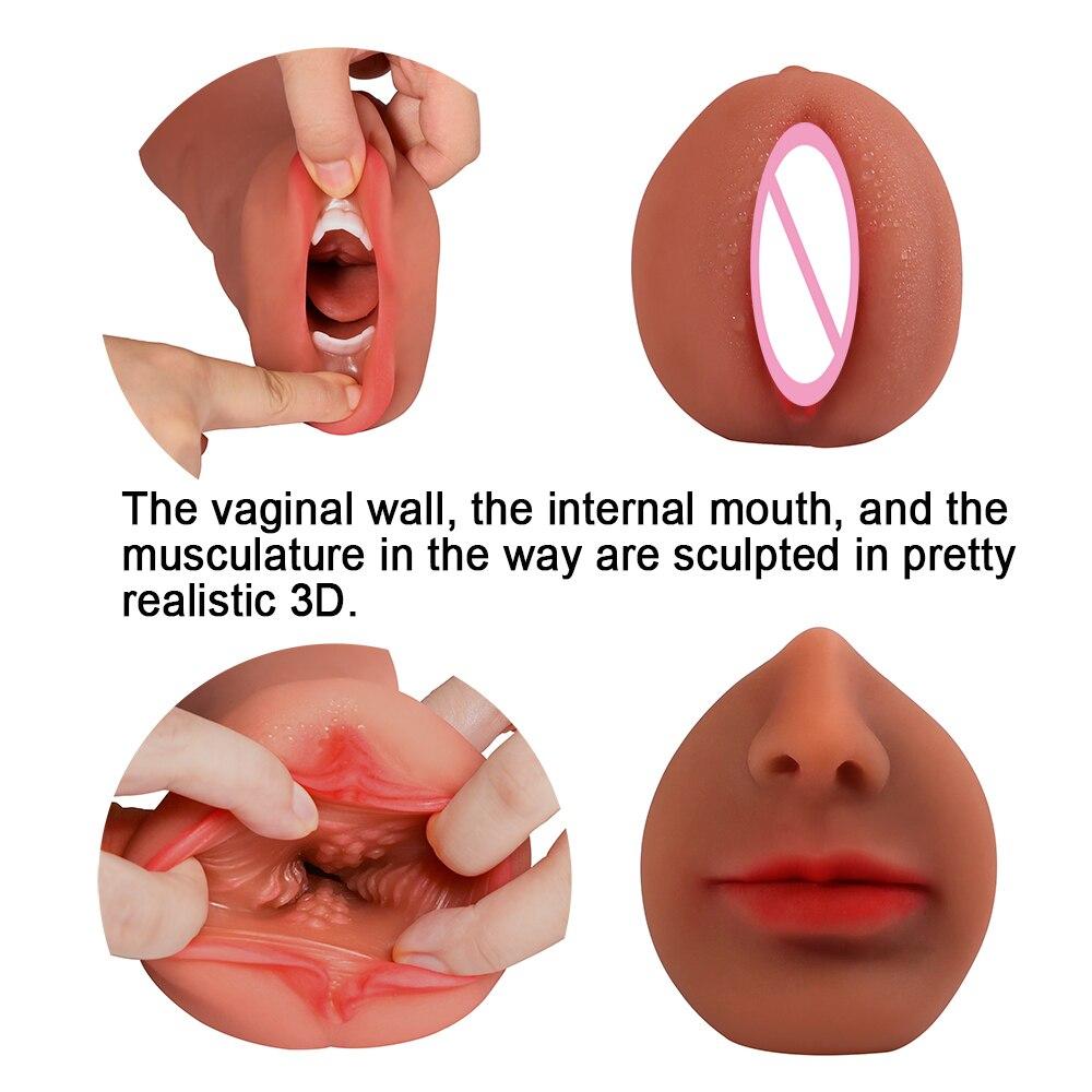 Vagina Sex Toys For Men Masturbator Fleshlight Masturbador Masculino 4D Deep Throat Male Masturbator  Mouth Oral Sex Sex-Silicon