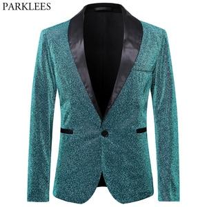 Image 5 - Gold Silk Blazer Men Single Button Shawl Collar Mens Blazers Jacket DJ Club Dance Party Stage Dazzling Blazer Masculino Outwear