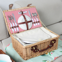 Nordic Outdoor Picnic Storage Basket Straw Rattan Fruit Basket Picnic Basket With Lid Cutlery Home Decor Morden Wedding Gift