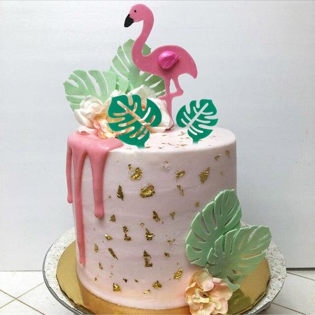 Листик для торта с тропическими листьями, верхушка для кексов, Летняя Вечеринка, джунгли, день рождения, гавайская вечеринка, украшение для торта