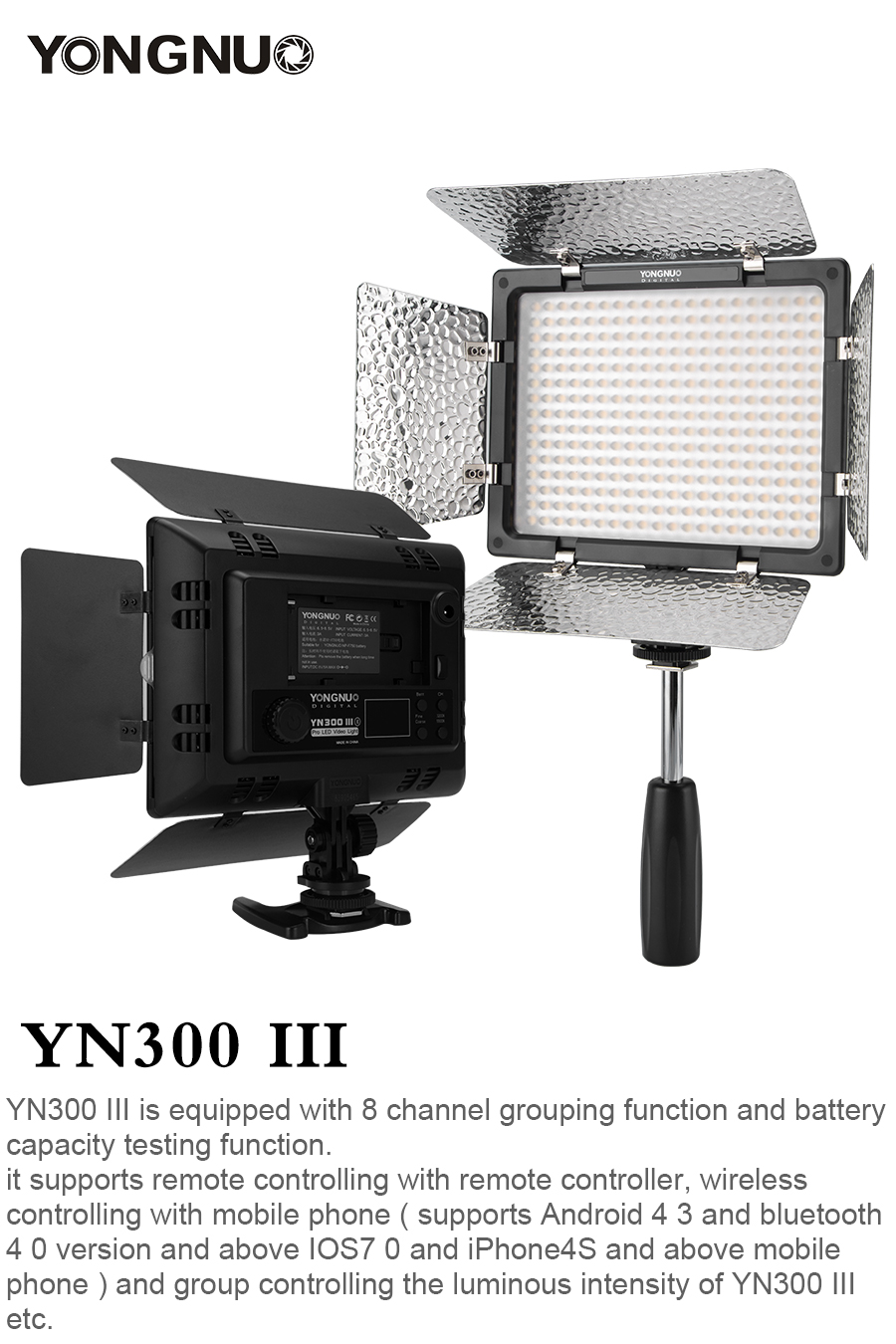 H69348a127c974506ac6813b1ee775e6b5 Yongnuo YN300 III YN300III 3200k-5500K CRI95 Camera Photo LED Video Light Optional with AC Power Adapter + NP770 Battery KIT