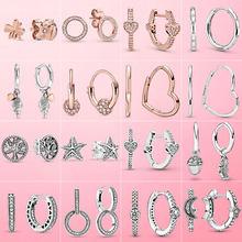 Pendientes de plata de Plata de Ley 925 auténtica asimétrica pendientes con argolla de corazón para las mujeres pendiente plateado a la moda de regalo de la joyería