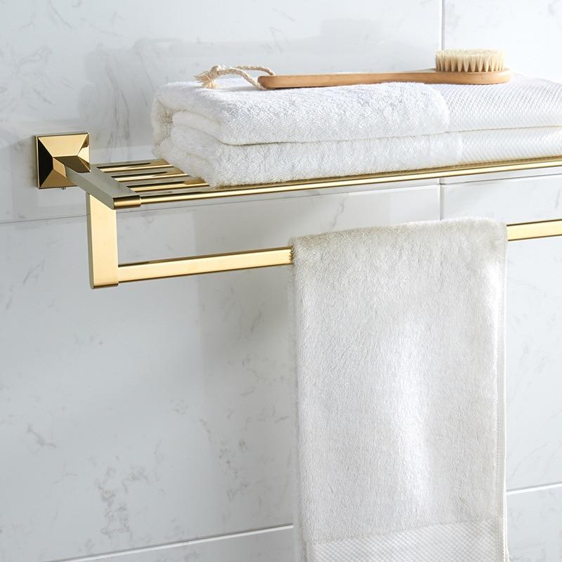 Vidric Carlisle All-copper White Gold Bathroom Towel Rack Bathroom Towel Rack Shelving Metal Pendant