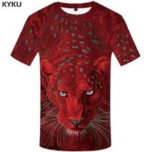 KYKU Leopard T shirts Men Animal T-shirt Printed Tshirt Red 3d t shirt hip hop tee cool mens Hip summer Short Sleeve