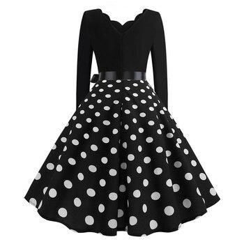 Women Vintage Long Sleeve Christmas Dress Winter Plus Size Swing Elegant Lacework Party Dress Robe Casual Black Print New Year 2