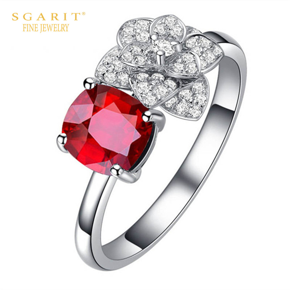 hot sale wedding engagement jewellery 0.5ct red ruby natural gemstone ring with diamond 18k gold women ring 1