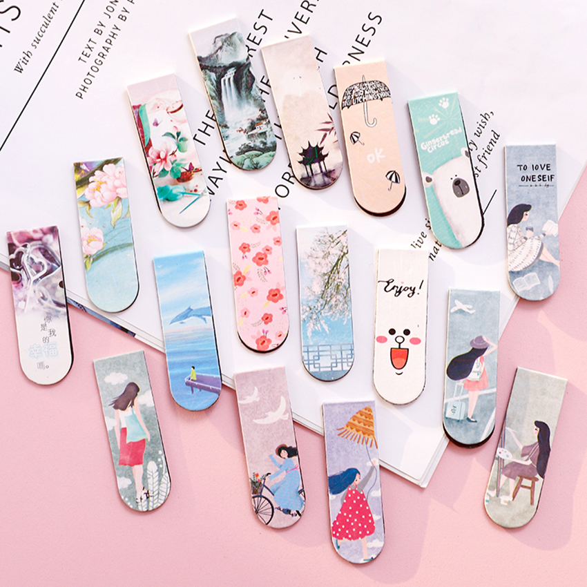 5PCS/Lot Creative Magnetic Bookmarks 20 Pages Capacity Clip Flexible Magnetic Page Markers Learning Office Reading Stationery