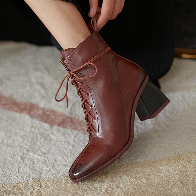 Fashion Women Ankle Boots 2021 Newet Cross Tied Thick high Heels Shoes Woman Retro Party Working dress Boots size 40 41 42