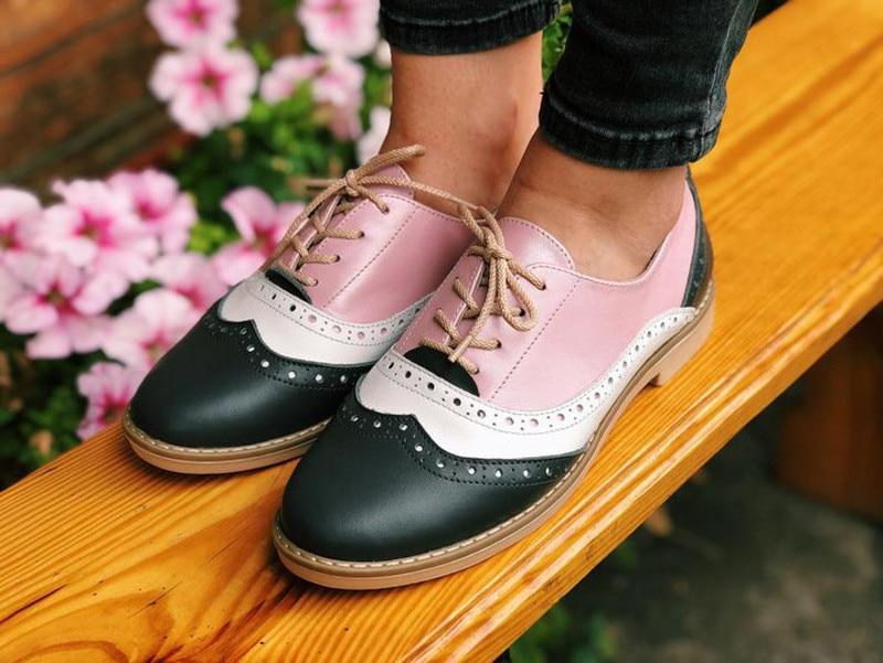 Plus Size 34-43 Women Oxfords Flats Shoes Vintage Color Block Brogues Shoes Woman British Carved Laces Student Lady Oxford Shoes (5)