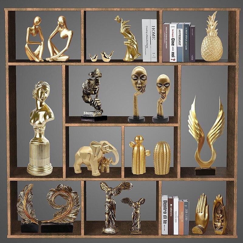 Nordic luxo tecnologia resina de ouro decoração sala estar jantar grade varanda armário vinho tv decoração presente