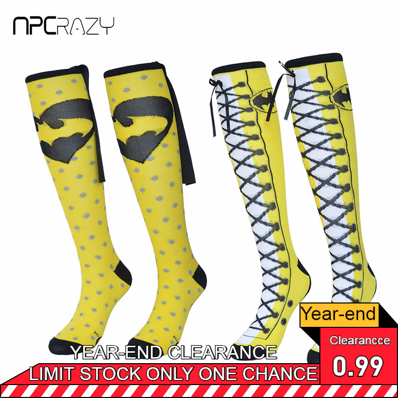 Socks Women Stockings Balck Yellow Cloak Batman Sock Cotton Knee High Stocking Party Cosplay Hip Hop Cartoon Skateboarding Sport
