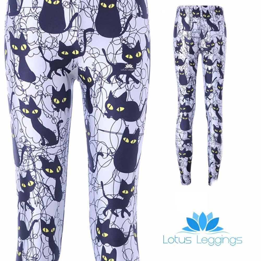 Cute Black Cats Pattern Digital Printing Polyester Leggings New Fashion Sportswear Workout Female Push Up Leggings