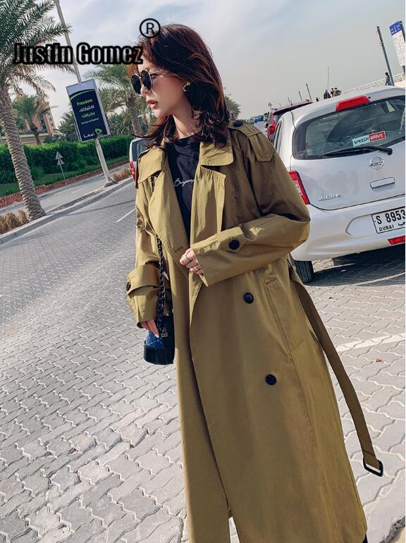 Trench   Coat Women's Long 2019 Popular Coat Women's Spring New Thin England Knee-high Academic Style Spring and Autumn Long Coat