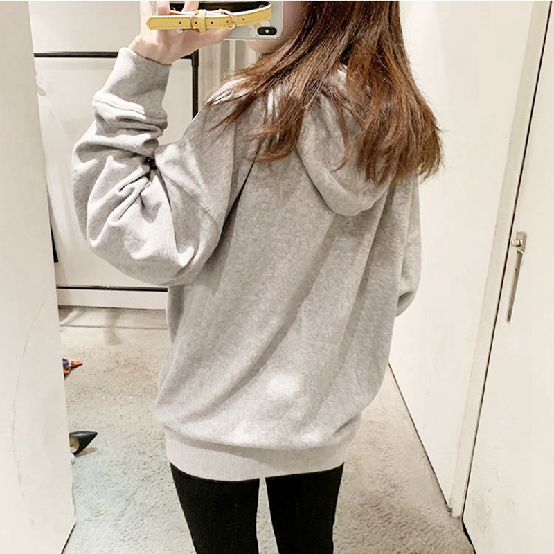 Autumn Winter Cotton Letter Velvet Women Hoodies Sweatshirt Warm Casual Hooded Long Sleeve Pullover Top