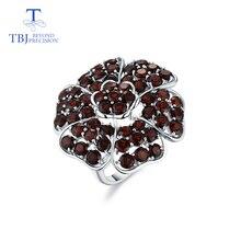 Tbj, büyük lüks taş yüzük doğal kırmızı garnet handsetting taşlar yüzük 925 ayar gümüş ile parti için hediye kutusu