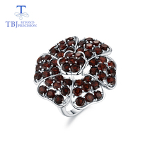 Tbj, grande anel de pedra preciosa de luxo com granada vermelha natural handsetting gemstones anel em 925 prata esterlina para festa com caixa de presente