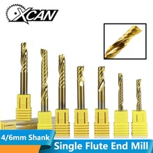 цена на XCAN 1pc 4/6mm Shank Single Flute End Mill Carbide CNC Engraving Bit TiN Coated Straight Shank Milling Cutter Spiral End Mills