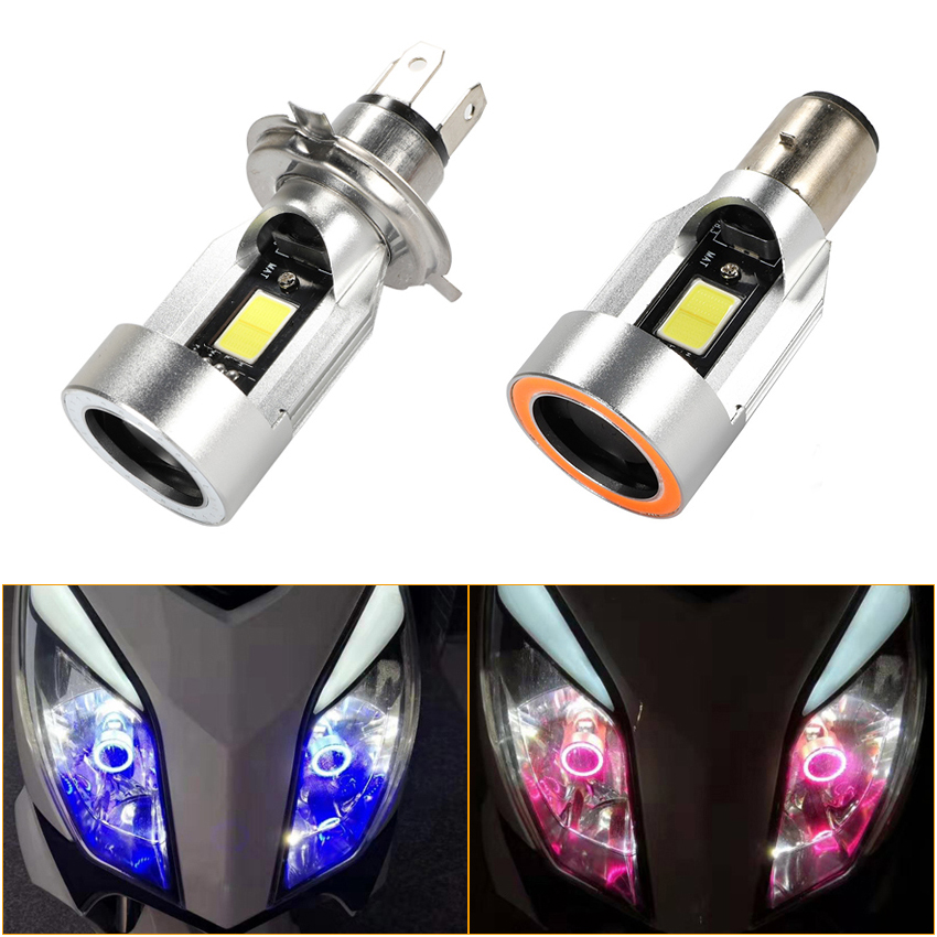 H4 Led Motorcycle Headlight Bulbs H6 ba20d HS1 LED Motorbike Head Lamp Scooter Accessories Fog Light with Angel eye