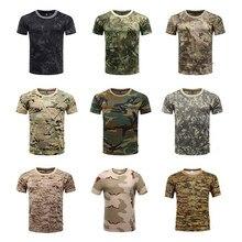 Camisetas de deportes al aire libre para hombre, Tops de camuflaje Multicam de secado rápido con cuello redondo, camisetas de manga corta, camisa de talla grande, M-3XL, accesorios para camiseta