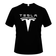 New Tesla Men's Summer Digital Print T-Shirt Backing Shirt Breathable Solid Casual Top