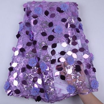 2019 Newest Sequin 3D Flower Tulle Lace African Net Lace Fabric With Sequins Nigerian French Mesh Lace Fabric For Wedding S1726