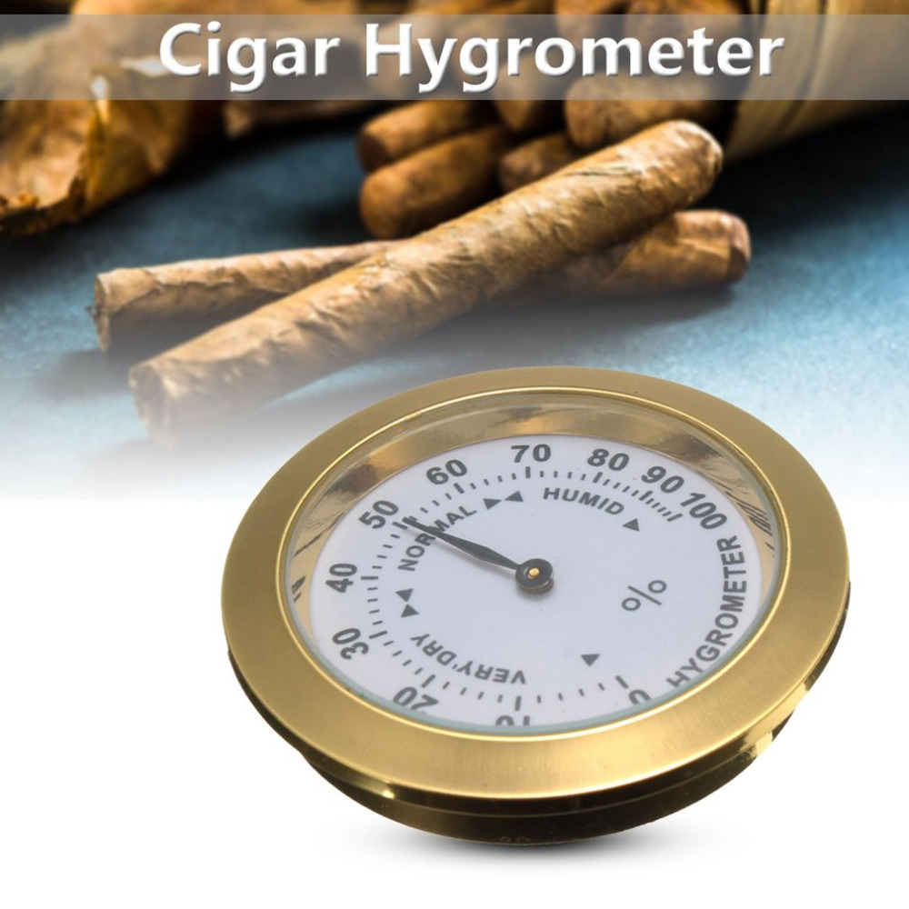 Brass Analog Hygrometer Cigar Tobacco Humidity Gauge & Glass Lens For Humidors Smoking Humidity Sensitive Gauge|Moisture Meters| |  - title=