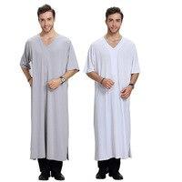 Jubba Thobe For Men Arab Dubai Mens Formal Muslim Robe V Neck Long Cotton Tee Tshirt T Shirt Clothing Islamic Kaftan Casual Wear
