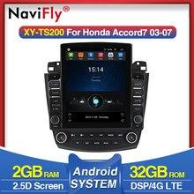 Navifly – autoradio style Tesla Android, navigation gps, lecteur multimédia, vidéo, sans DVD, 2 din, pour voiture Honda Accord 7 CM, UC CL2005 2008