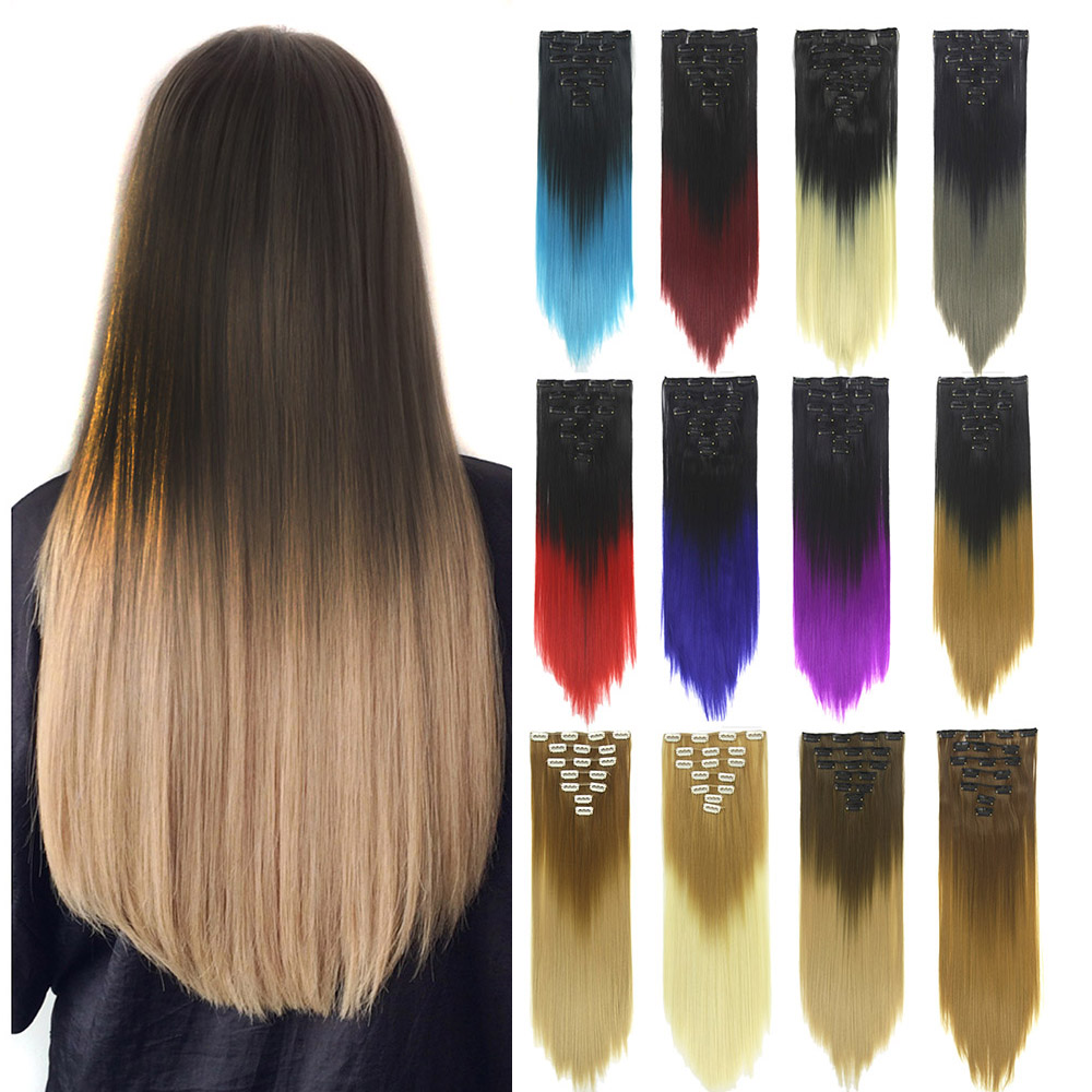 Soowee 7pcs/set Synthetic Ombre Hair Curly Blonde Clip In Hair Extensions Purple Hairpiece Fake Hair Piece